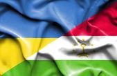 Развевающийся флаг Таджикистана и Украины — Стоковое фото