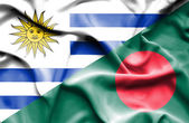 Waving flag of Bangladesh and Uruguay — Stock Photo