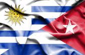 Waving flag of Cuba and Uruguay — Stock Photo