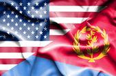 Waving flag of Eritrea and USA — Stock Photo
