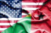 Waving flag of Guinea Bissau and USA — Stock Photo