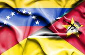 Viftande flagga Moçambique och venezuela — Stockfoto