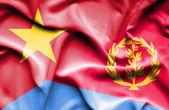 Waving flag of Eritrea and Vietnam — Стоковое фото