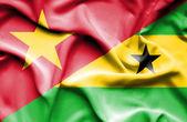 Waving flag of Sao Tome and Principe and Vietnam — Стоковое фото