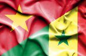 Waving flag of Senegal and Vietnam — Stockfoto