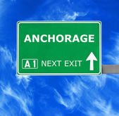 ANCHORAGE road sign against clear blue sky — Stock Photo