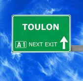 Toulon-Straßenschild gegen klar blauen Himmel — Stockfoto