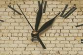 Retro clock on brick wall  — Stock Photo