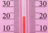 Closeup photo of household alcohol thermometer showing temperatu — Stock Photo