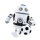 Robota gry w piłkę nożną. na białym tle. zawiera ścieżkę przycinającą — Zdjęcie stockowe