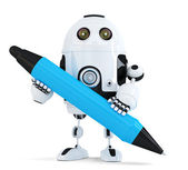 Robot with pen. Isolated on white. Contains clipping path — Stock Photo