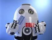 Roboter spielen mit bunten Gebäude Ziegeln. Technologiekonzept. Beschneidungspfad enthält — Stockfoto