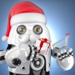 Robot Santa holding a shopping cart. Christmas concept. Contains — Stock Photo #61532987