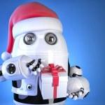 Robot Santa with christmas gift box. Christmas concept. Contains — Stock Photo #61533027