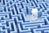 Lost and sad man in center of the maze — Stock Photo