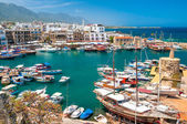 KYRENIA, CYPRUS - APRIL 26, 2014 - View of a historic harbour an — Stock Photo
