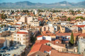 Northern part of Nicosia, aerial view with tilt-shif effect. Cyprus — Stock Photo