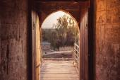 Open gate at medieval Kolossi castle. Limassol, Cyprus — Stock Photo