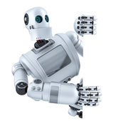 3d Robot with blank banner. Isolated. Contains clipping path — Stock Photo