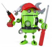 Green robot with tools. Isolated. Contains clipping path — Stock Photo