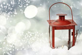 Christmas background with red lantern — Stock Photo