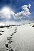 Snowy path on the hill — Stock Photo