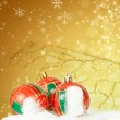 Christmas background with closeup on decorations:  golden chris — Stock Photo #58617589