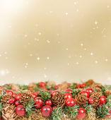 Christmas tree decoration and holiday lights — Stock Photo