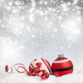 Christmas background with red baubles — Fotografia Stock