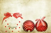 Vintage decoration with red Christmas balls — Stock Photo