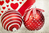 Vintage decoration with red Christmas balls — Foto de Stock