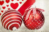 Vintage decoration with red Christmas balls — Zdjęcie stockowe