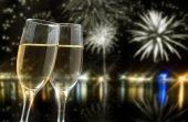 Champagne on festive background — Stock Photo