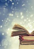 Christmas background with books — Stock Photo
