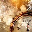 New Year greeting card with vintage clock and holiday lights — Stock Photo #60549131