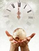 New Year over the globe earth — Stock Photo