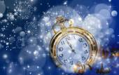Old clock with stars snowflakes — Stock Photo