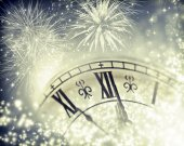 Old clock with fireworks — Stock Photo