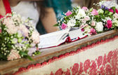 Wedding decoration in a church — Stock Photo