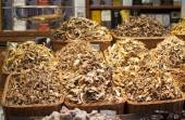 Dried mushrooms exposed  in a market — Stock Photo