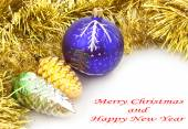 Christmas balls with garland on a white background — Stock Photo