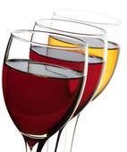 Closeup three wine glass isolated over white background — Stock Photo