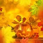 Scary jack o lantern halloween background — Stock Photo