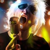 Rock singer screaming — Stock Photo