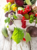 Healthy organic vegetable on wooden table — Stock Photo