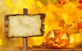 Scary jack o lantern halloween background — Stock Photo