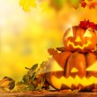 Scary jack o lantern halloween background — Stock Photo #54743221