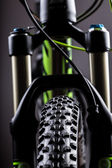 Close-up of a mountain bike spring fork — Photo