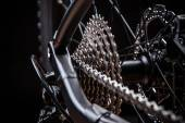 Rear mountain bike cassette on the wheel — Stock Photo