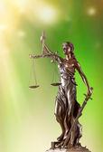Themis in spotlight, law concept. — Stock Photo